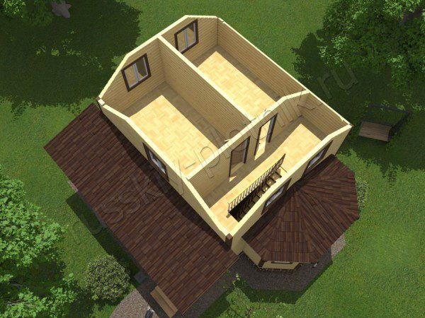 Дом из бруса 8х9 в полтора этажа (44БР)