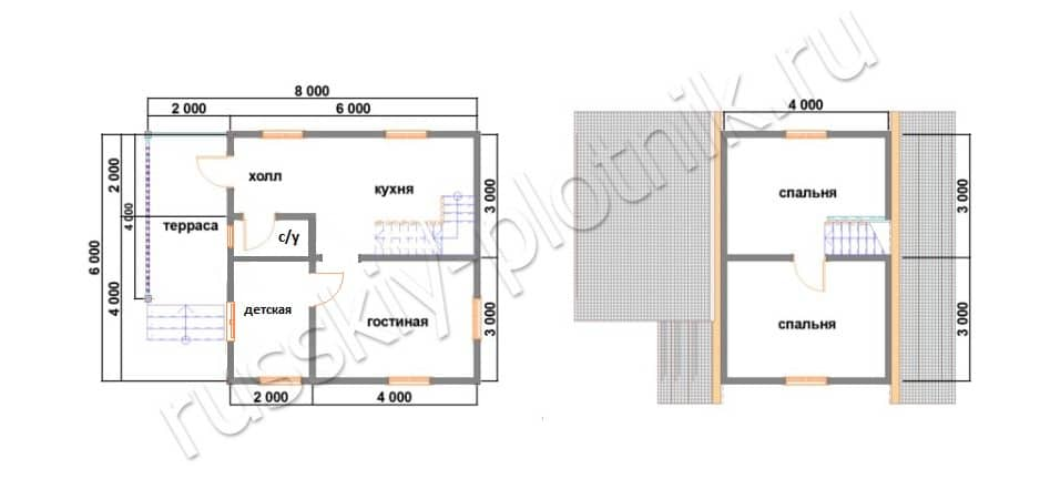 Построили дом 6х6 с мансардой