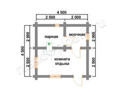 Баня из бревна 4,5х4,5 (БО1) план