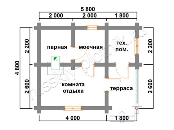 Баня из бревна 4,8х5,8 (БО3) план