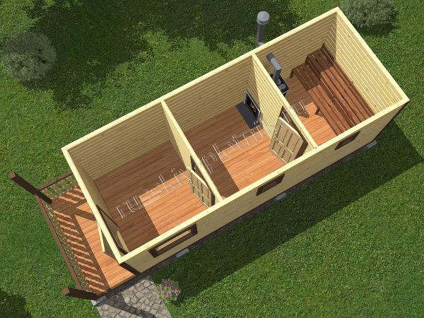 Мобильная баня 2,3×7