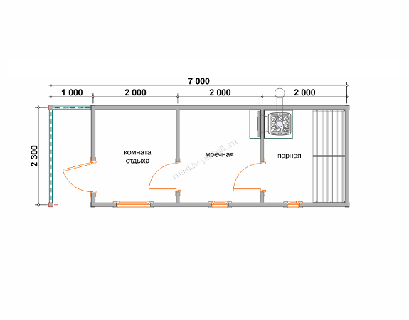 Мобильная баня 2,3×7 план