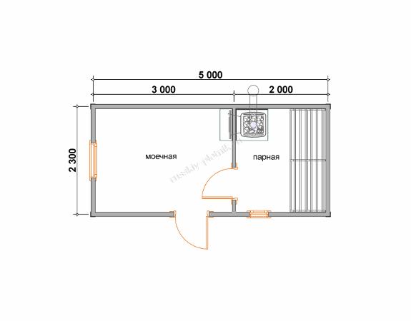 Мобильная баня 2,3x5 план