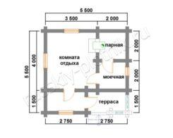 Проект БО-4 (баня 5,5х5,5)