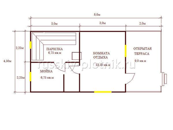 Проект Б-23 (баня 4,5х8,0)