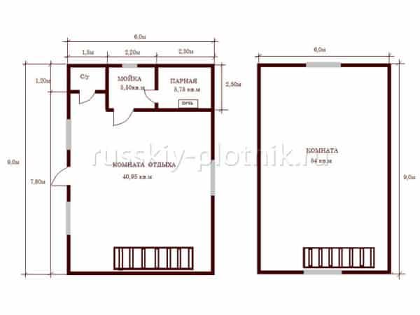 Построили дом-баню 6х9 в полтора этажа