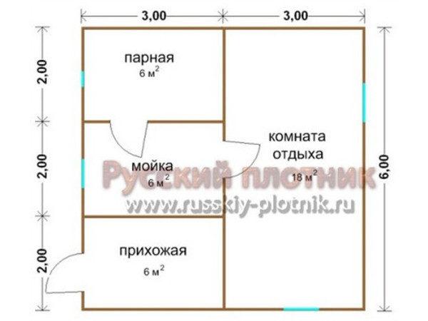 Проект Б-13 (баня 6х6)