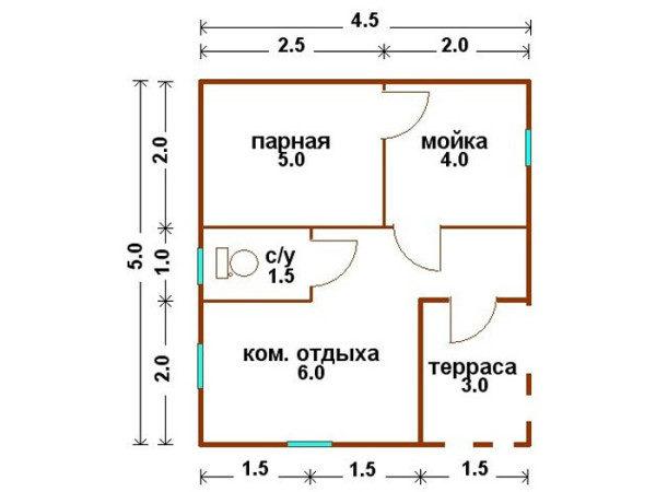 Проект Б-05 (баня 4,5х5)