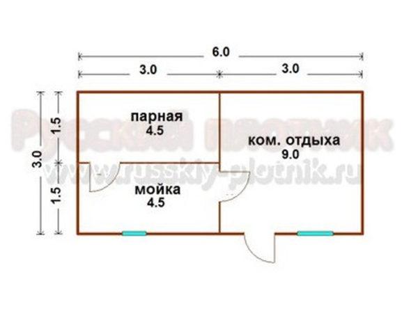 Проект Б-08 (баня 3х6)