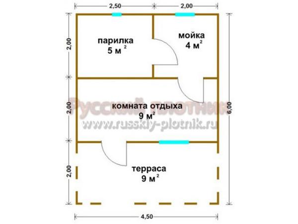 Построили баню по проекту Б-09 (баня 4,5х6)