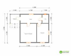 ПроектБР-73 (дом 6х6)