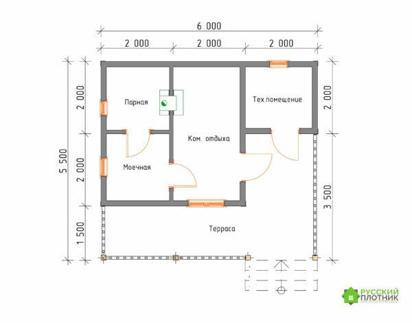 Проект Б-35 (баня 5,5х6)