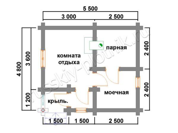 Баня из бревна 4,8х5,5 (БО2) план