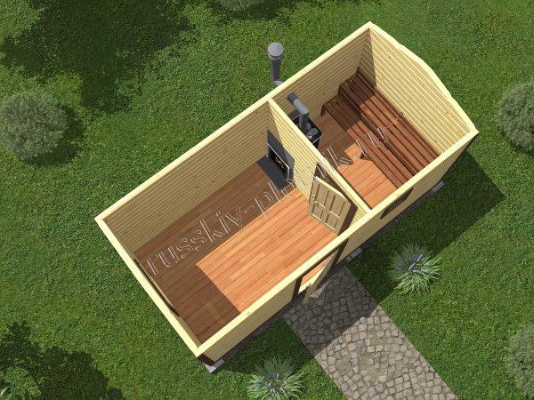 Мобильная баня 2,3x5