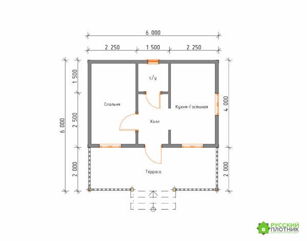 ПроектБР-71 (дом 6х6)