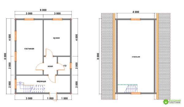 Проект БР-55 (дом 6х8)