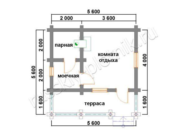 Проект БО-5 (баня 5,6х5,6)